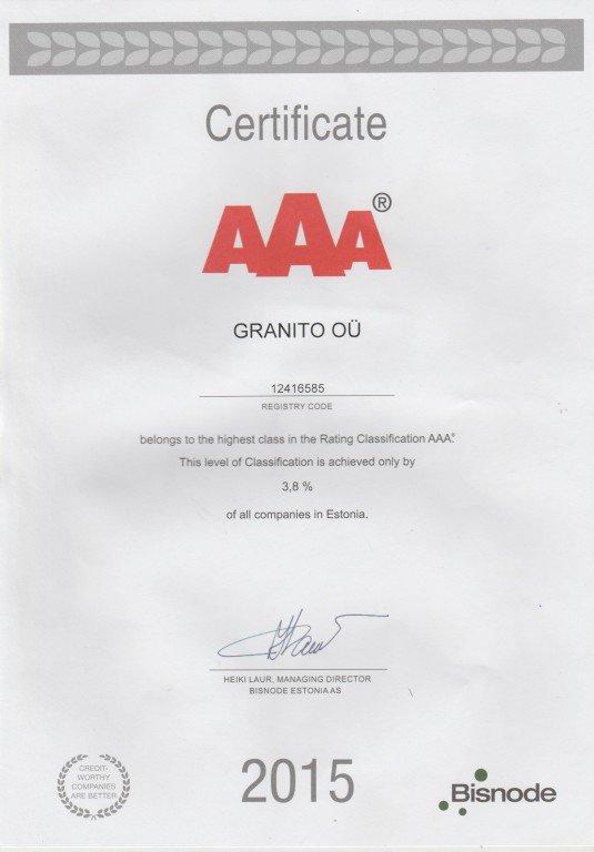 Granito OÜ AAA-krediidireiting